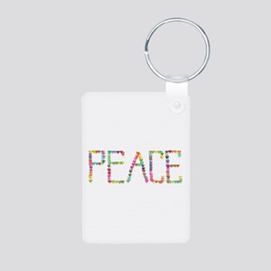 Peace Hearts Aluminum Photo Keychain