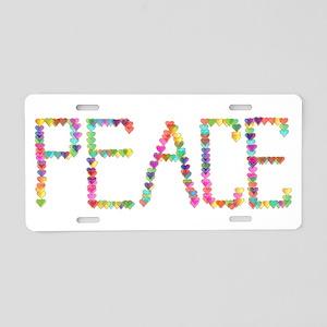 Peace Hearts Aluminum License Plate