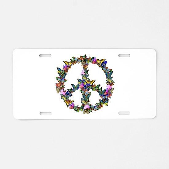 Butterflies Peace Sign Aluminum License Plate