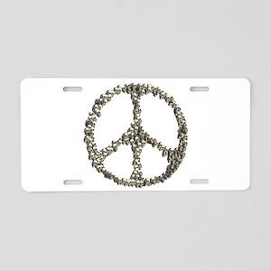 Skulls Peace Sign Aluminum License Plate