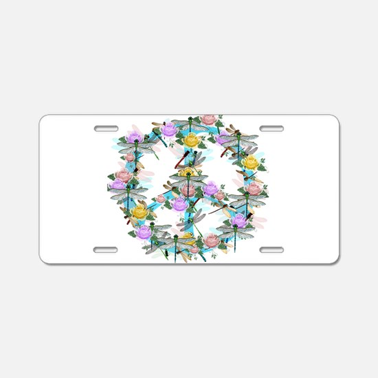 Dragonfly Peace Sign Aluminum License Plate