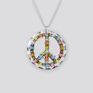 Peace Flowers Necklace Circle Charm