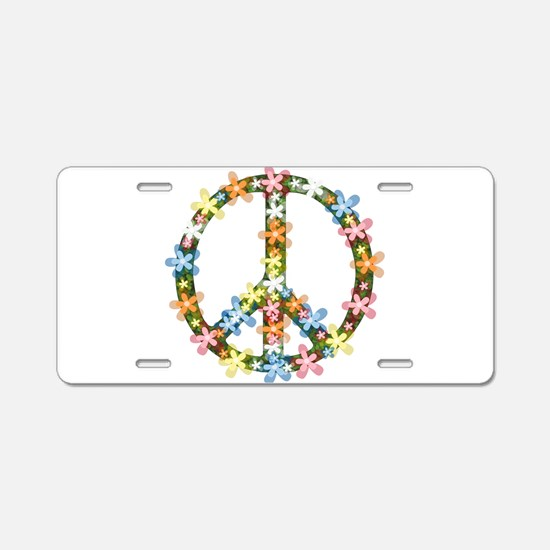 Peace Flowers Aluminum License Plate