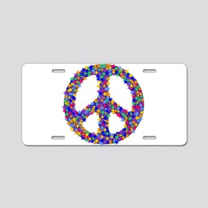 Starry Peace Sign Aluminum License Plate