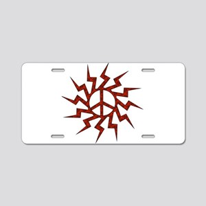 Red Spiral Peace Sign Aluminum License Plate