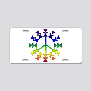 Rainbow Peace Spiral Aluminum License Plate