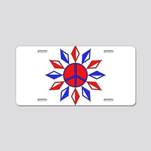 Red, White, And Blue Peace Aluminum License Plate