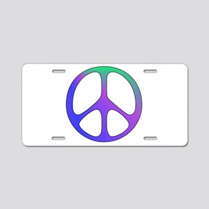 Rainbow Colored Peace Sign Aluminum License Plate