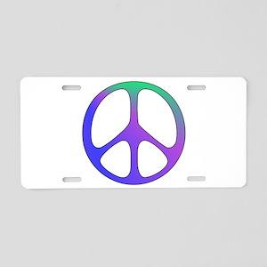 Rainbow Colored Peace Sign Aluminum License Plate