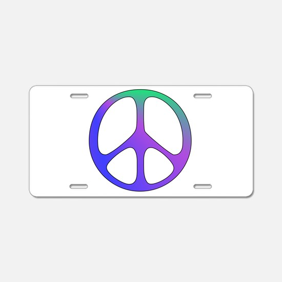 Classic Rainbow Peace Sign Aluminum License Plate