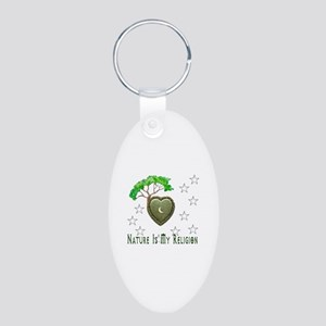 Nature Is My Religion Aluminum Oval Keychain