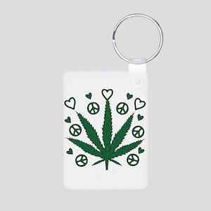Peace Love Weed Aluminum Photo Keychain