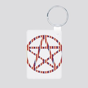 Patriotic Pentacle Aluminum Photo Keychain