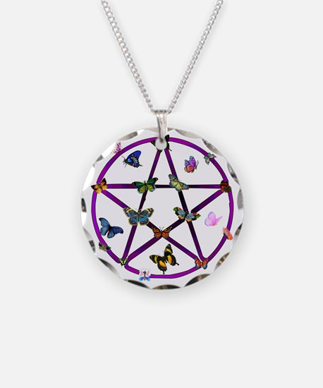 Wiccan Star and Butterflies Necklace