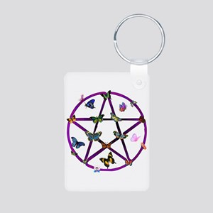 Wiccan Star and Butterflies Aluminum Photo Keychai
