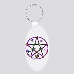 Wiccan Star and Butterflies Aluminum Oval Keychain