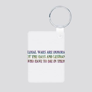 War not Gays Immoral Aluminum Photo Keychain
