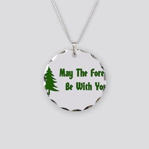 May The Forest Be With You Necklace Circle Charm