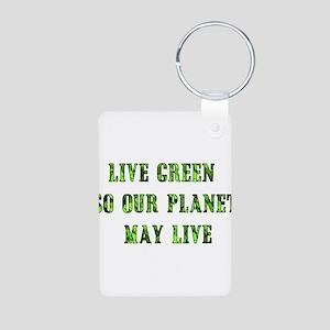 Live Green Aluminum Photo Keychain