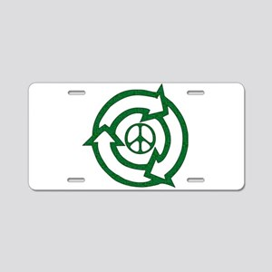 Recycle Peace Sign Aluminum License Plate