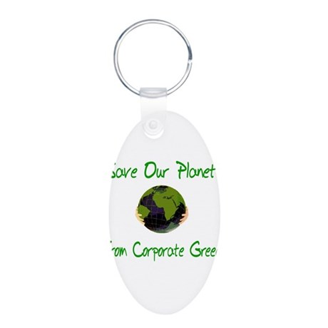 Save Our Planet Aluminum Oval Keychain
