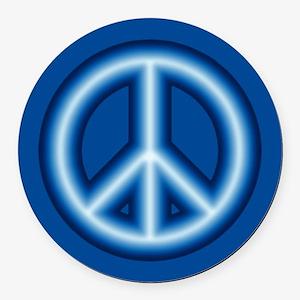 Blue Peace Symbol Round Car Magnet