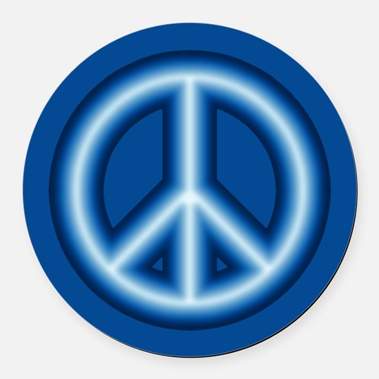 Blue Peace Symbol Round Car Magnet