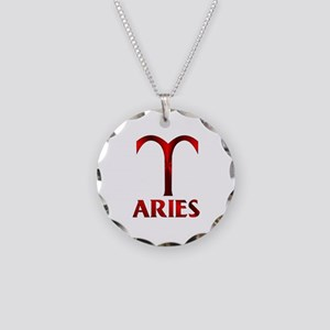 Red Aries Horoscope Symbol Necklace Circle Charm