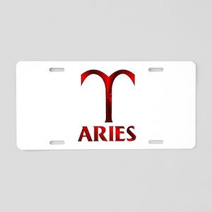 Red Aries Horoscope Symbol Aluminum License Plate
