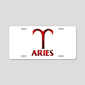 Red Aries Symbol Aluminum License Plate
