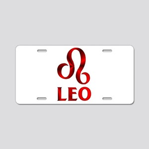 Red Leo Astrological Symbol Aluminum License Plate