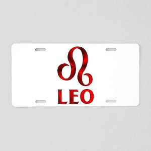 Red Leo Symbol Aluminum License Plate