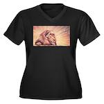 Dawn Lion Women's Plus Size V-Neck Dark T-Shirt