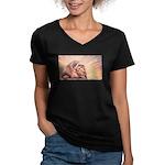 Dawn Lion Women's V-Neck Dark T-Shirt