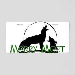 Merry Meet Spirit Wolf Aluminum License Plate