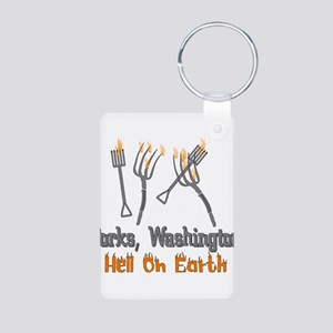 Forks, Washington Hell Aluminum Photo Keychain