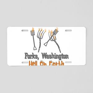 Forks, Washington Hell Aluminum License Plate