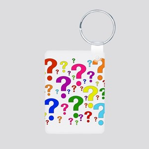 Rainbow Question Marks Aluminum Photo Keychain
