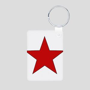 Red Star Aluminum Photo Keychain