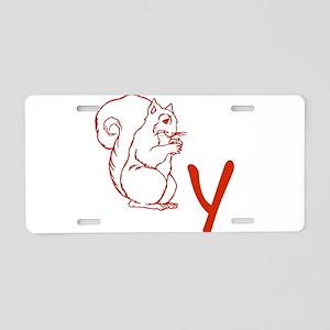 Squirrely Aluminum License Plate