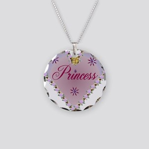 Princess Heart Necklace Circle Charm