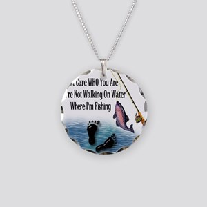 Fishing Here! Necklace Circle Charm