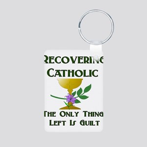 Recovering Catholic Aluminum Photo Keychain