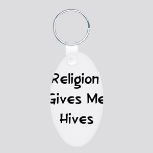 Allergic to Religion Aluminum Oval Keychain