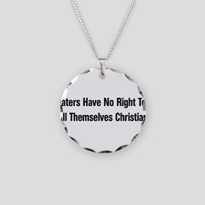 Hate Is Not Christian Necklace Circle Charm