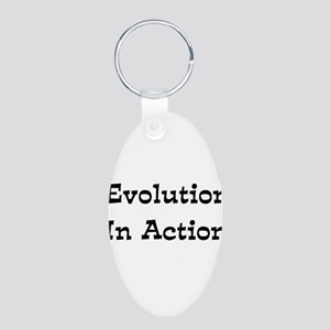 Evolution In Action Aluminum Oval Keychain