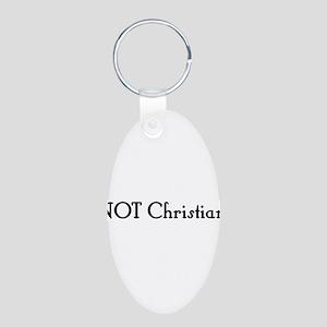 NOT Christian Aluminum Oval Keychain