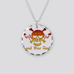 Anarchist Skull Necklace Circle Charm