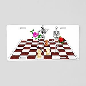 Chess Skeletons Aluminum License Plate