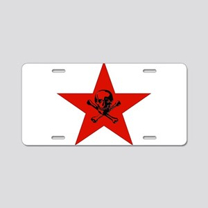 Red Star and Skull Aluminum License Plate